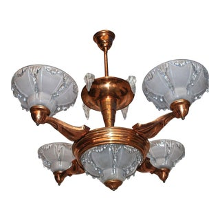 Antique French Art Deco Chandelier For Sale