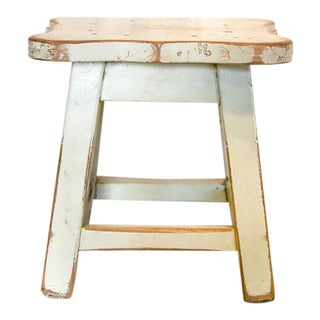 Aged White Low Stool For Sale