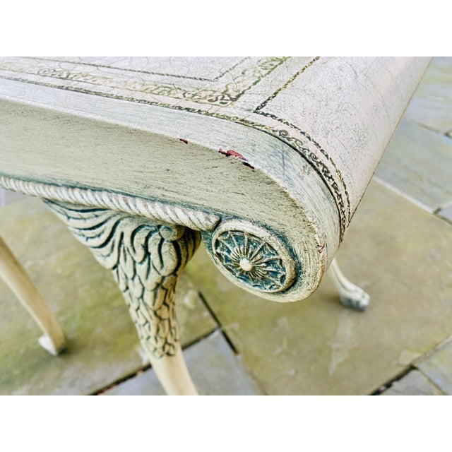 Wood English Scroll Table With Faux Painted Detail For Sale - Image 7 of 11