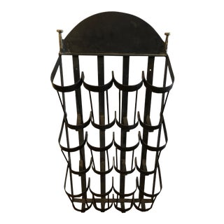 Wrought Iron Hanging Wall Wine Rack For Sale