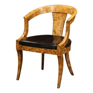 Mid-20th Century French Louis Philippe Carved Painted Desk Armchair With Leather For Sale