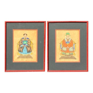 Vintage Chinoiserie Chic Red Bamboo Framed Ancestral Art Painting of Emperor Portraits – a Pair For Sale