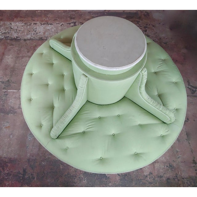 Mid 20th Century Louis XVI Style Fabulous Painted & Upholstered Round Settee For Sale - Image 5 of 8