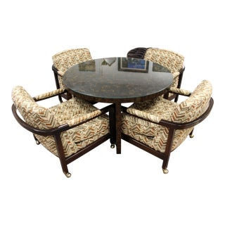 Mid Century Modern Directional Game Dinette Table Armchairs Evans Era 60s - Set of 5 For Sale