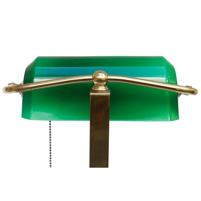 Brass Green Glass, Brass & Marble Banker's Desk Lamp For Sale - Image 7 of 10