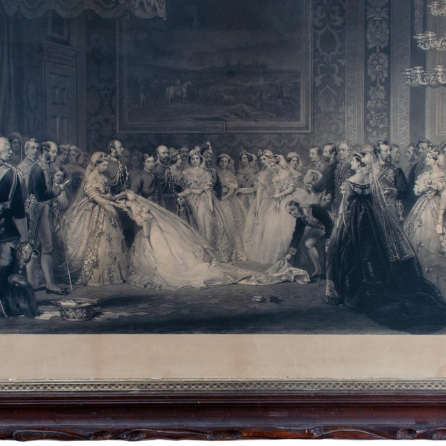 Mid 19th Century Mid 19th Century Antique Queen Victoria Drawing Room at St. James's Palace Engraving Print For Sale - Image 5 of 6