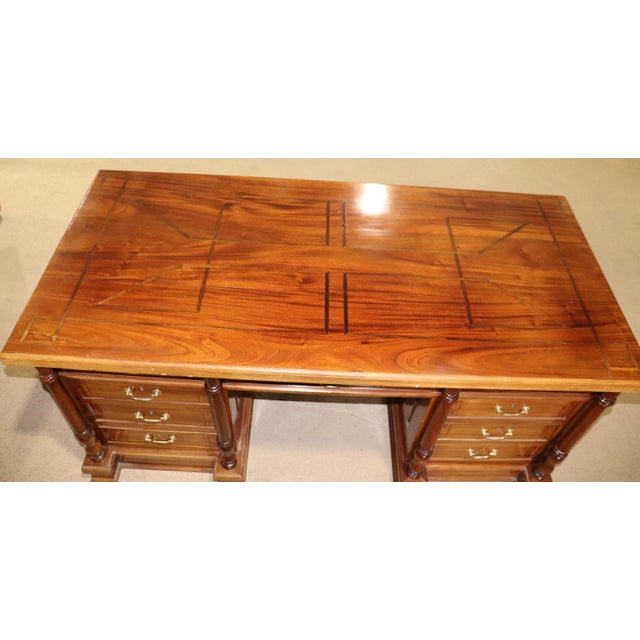 Early 20th Century Italian Inlaid Walnut Executive Desk For Sale - Image 5 of 10