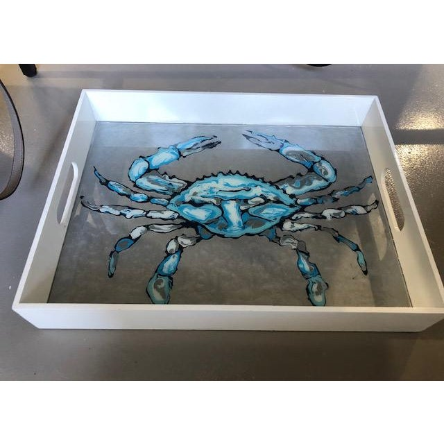 Large Crab Tray by Blue Moon Art Wooden tray with abstract painting and resin finish