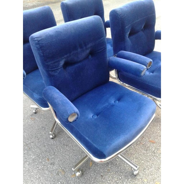Blue Vintage Hollywood Regency Chrome Swivel Arm Chairs - 3 Available For Sale - Image 8 of 12