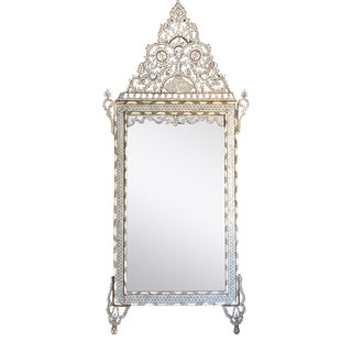 Mid 19th Century White Mother of Pearl Inlaid Wall Mirror For Sale
