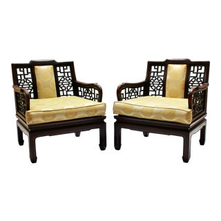 Pair of Mid-Century Asian-Style Rosewood Lounge Chairs by Arthur Jones Interiors For Sale