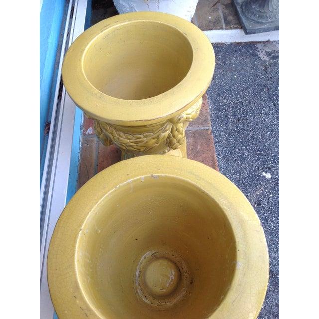 Ceramic Pair of Massive Glazed Terracotta Garden Urns For Sale - Image 7 of 13