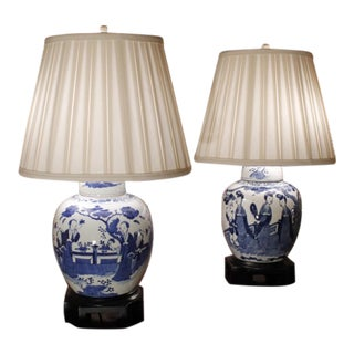 Chinese Blue and White Figural Decorated Ginger Jar Lamps - a Pair For Sale