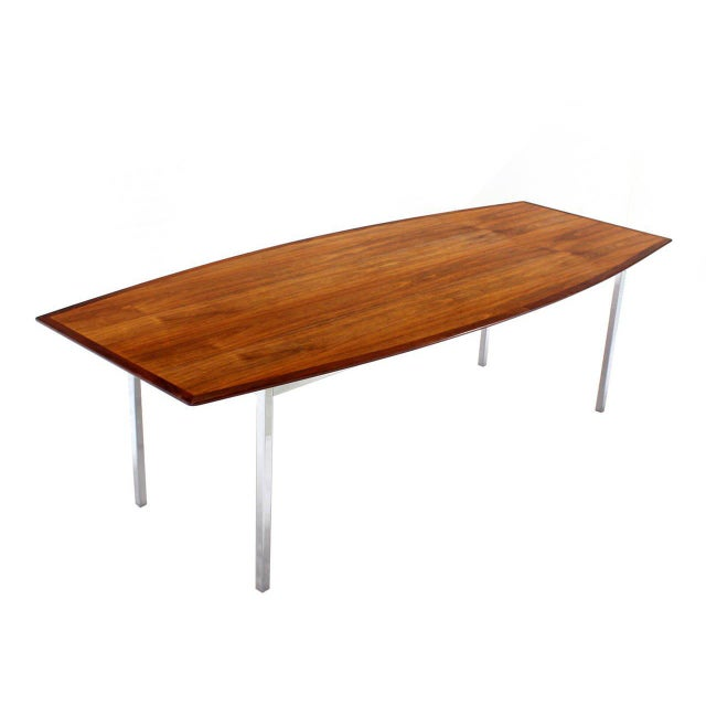 Lovely Feet Long Walnut Boat Shape Dining Conference Table On - Mid century conference table