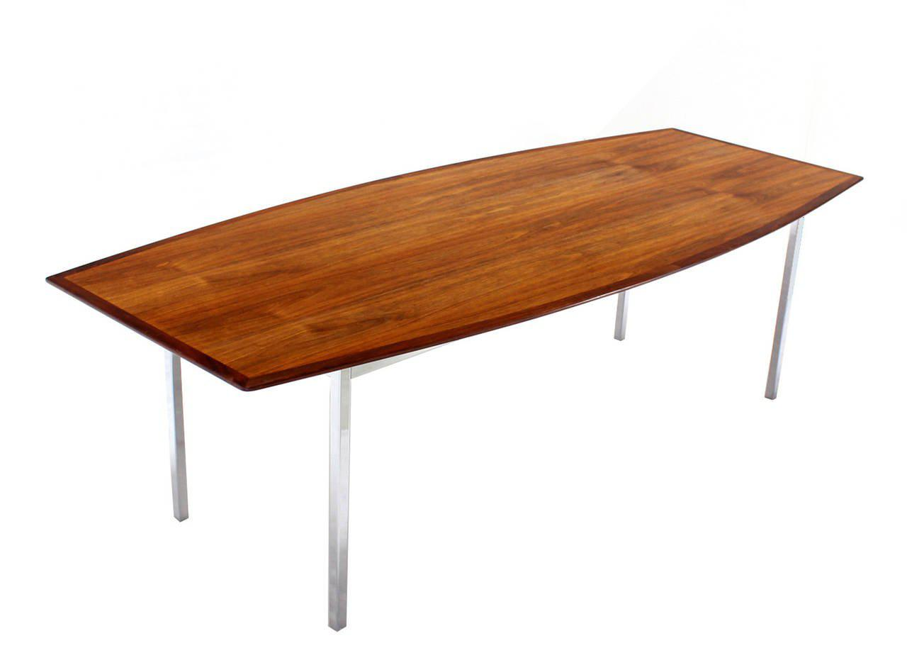 8 Feet Long Walnut Boat Shape Dining Conference Table On Chrome Base Mid  Century For Sale