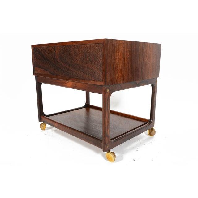 Danish Modern Rosewood Rolling Cart - Image 7 of 11