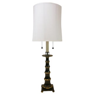 Large Faux Bamboo Patinated Brass Stiffel Lamp For Sale
