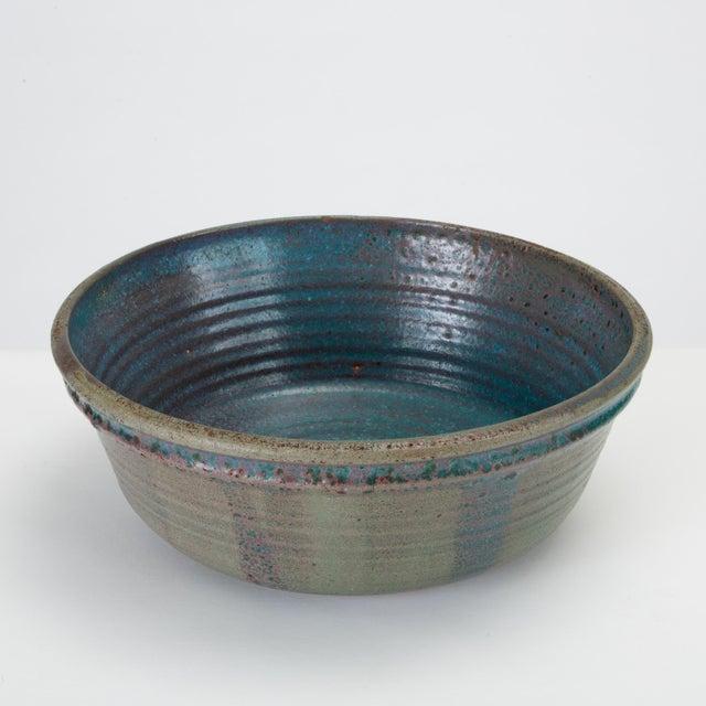Ceramic Blue Studio Pottery Serving Bowl For Sale - Image 7 of 12