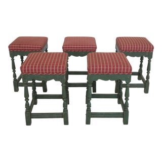 Country Painted Distressed Counter or Barstool Chairs - Set of 5 For Sale