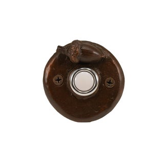 Round Acorn Doorbell with Traditional Patina For Sale