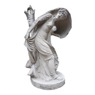 Woman Frightened by Lightning That Has Struck the Tree Beside Her- a Cast Stone Statue Inspired by Jean-Baptiste Stouf Original For Sale
