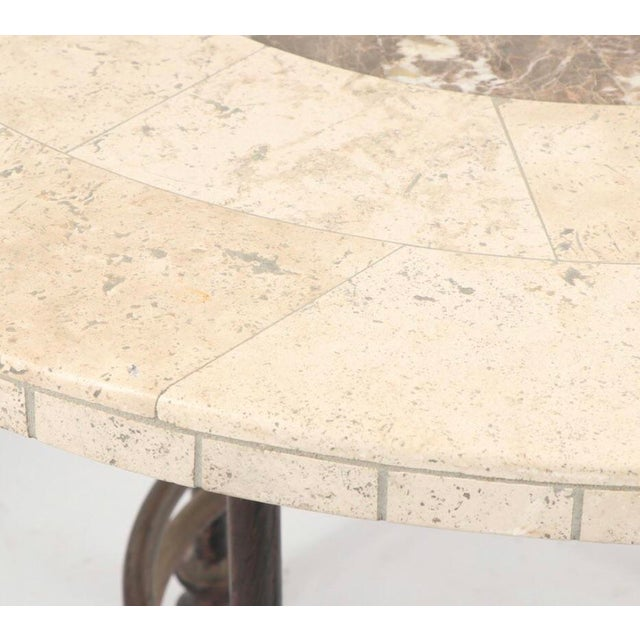 Mediterranean 20th Century Mediterannean Marble and Stone Dining or Large Coffee Table For Sale - Image 3 of 4