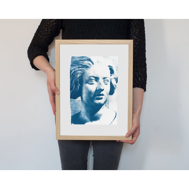 Limited Serie Cyanotype Print - Bernini Woman Bust Sculpture on Watercolor Paper - Image 2 of 4