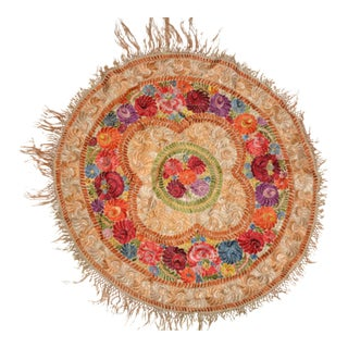 Antique Handmade Embroidered Round Tapestry Tablecloth Textile For Sale