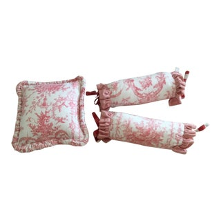 Custom Designed Thibaut Rockwood Toile Red on White Pillows - Set of 3 For Sale