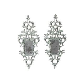 19th Century Pair of Venetian Mirrors Appliqués with Original Mirror Plate