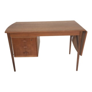 Danish Modern Teak Writing Desk With Expanding Leaf by Danish Control For Sale