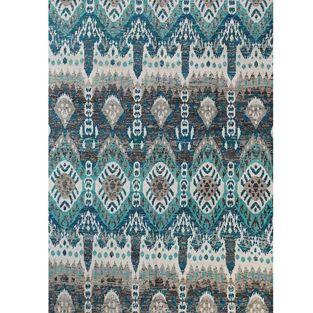 This stunningly beautiful handwoven Ikat area rug is an excellent choice for anyone wanting a striking foundation for...