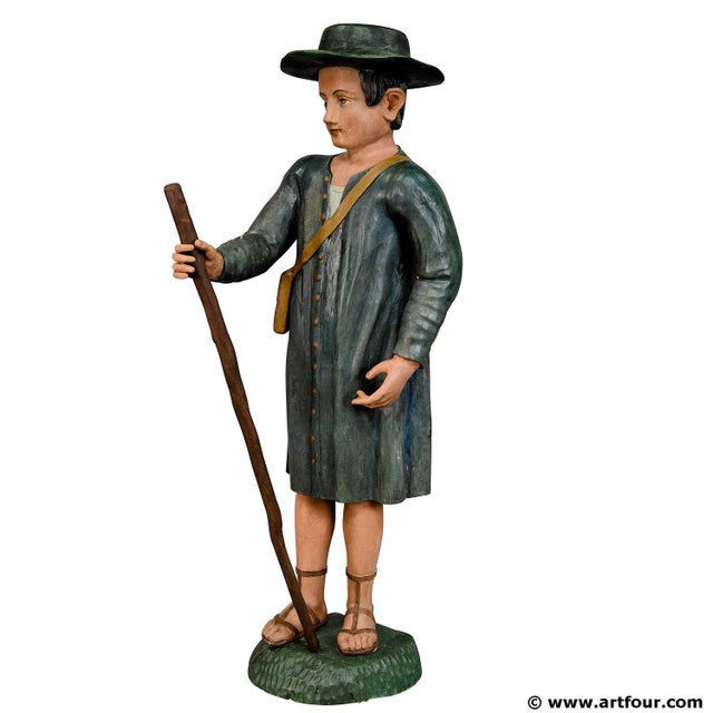 Antique Wooden Carved Crib Figurine Of A Shepherd For Sale - Image 10 of 10