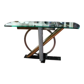 Post Modern Kaizo Oto for Design Institute America Mixed Metal Console Table For Sale