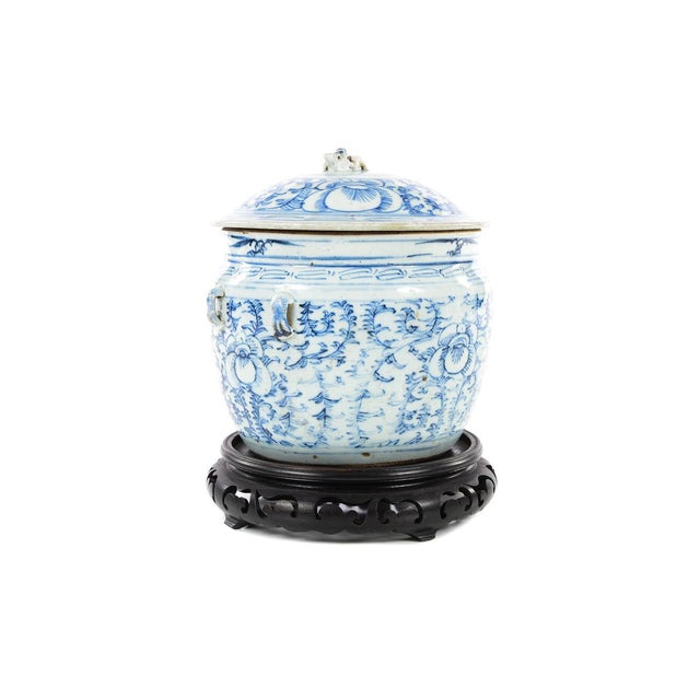 Chinese 19th C. Blue & White Porcelain Ginger Jar With Stand For Sale - Image 5 of 9