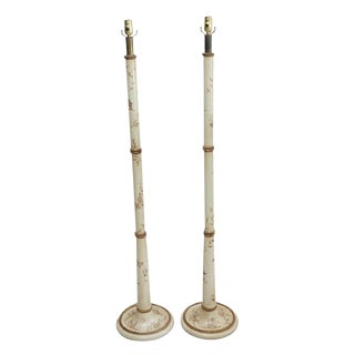 Hand Painted Chinoiserie Floor Lamps - a Pair For Sale