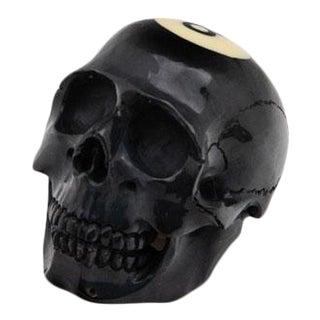 Contemporary Black 8-Ball Skull Resin Sculpture For Sale