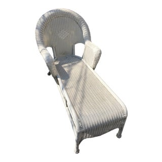 White Rattan Chaise Lounge