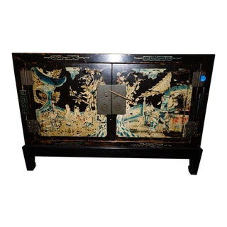 20th Century Chinese Elm Wood Cabinet For Sale