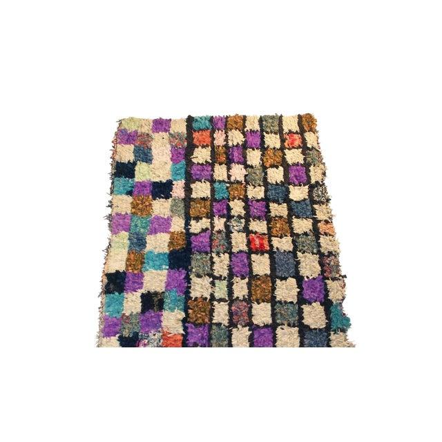 """Vintage Boucherouite Moroccan Carpet - 6' X 4'8"""" For Sale"""