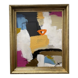 Late 20th Century Abstract Acrylic Painting, Framed For Sale