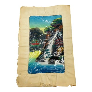 Vintage Mid Century Painting on Silk of a Fuji Five Lakes Autumn Waterfall Scene, From an Artist in Japan For Sale