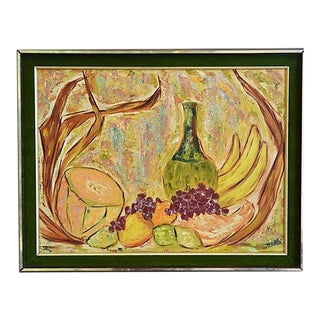 Ruth Etter, Midcentury Abstract Tablescape W/ Fruit Oil Painting For Sale