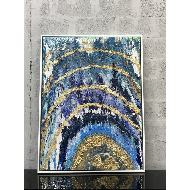 Abstract Framed oil painting with resin and gold leaf with rock crystal ,Beautiful abstract color, the piece is signed by...