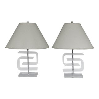 Mid-Century Modern Curved Lucite Table Lamps - A Pair