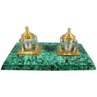 Malachite & Crystal Inkwell For Sale