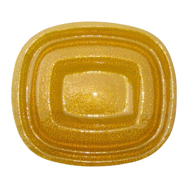 Art Deco Amber Yellow Glass Server Tray - Image 1 of 8