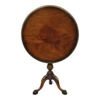 Chippendale Style Mahogany Pie Crust Tilt Top Tea Table with Ball and Claw Feet