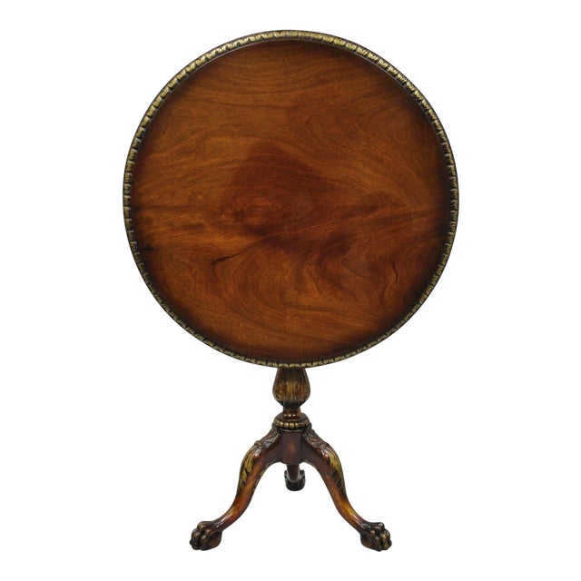 Chippendale Style Mahogany Pie Crust Tilt Top Tea Table with Ball and Claw Feet For Sale