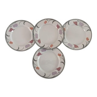 "1990's Mid-Century Modern Dansk Tivoli Belles Fleur-Gray Pattern 9"" Plates - Set of 4 For Sale"